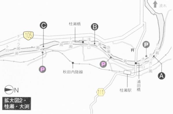 阿仁川 桂瀬・大渕周辺 鮎釣りポイント