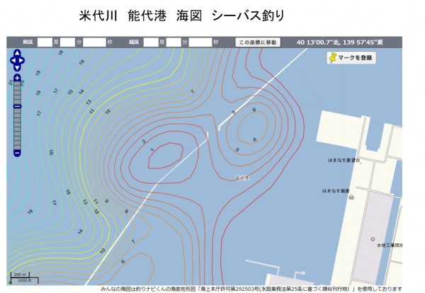 能代港 シーバス釣り 海図
