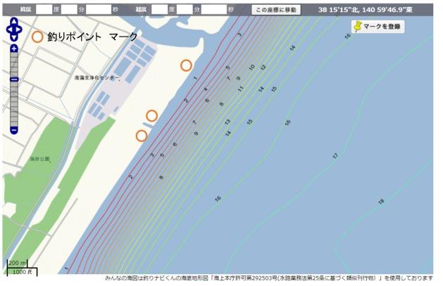 南蒲生浄水センター 釣り 海図