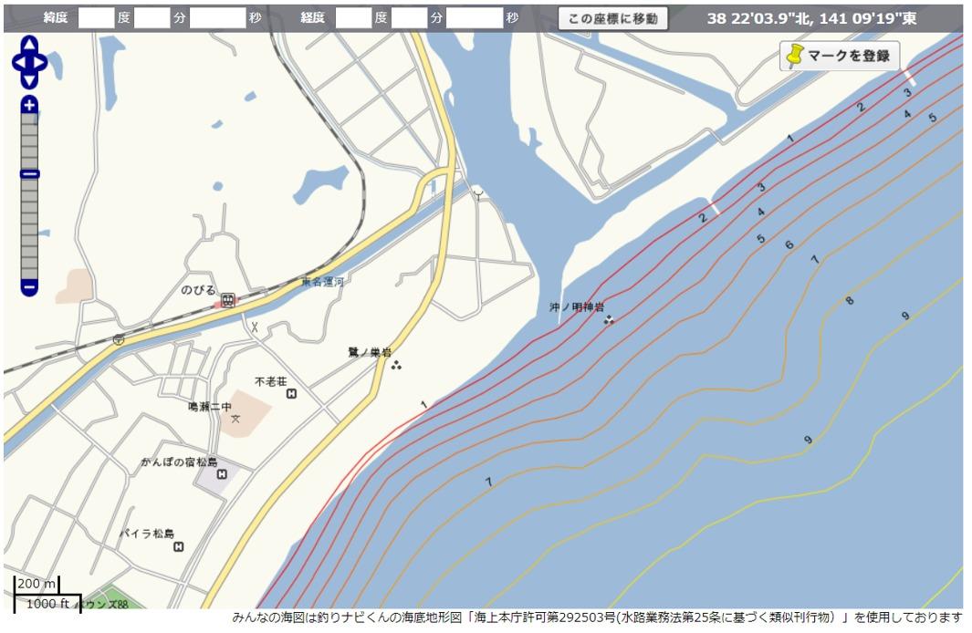 鳴瀬川 河口&サーフ 海図
