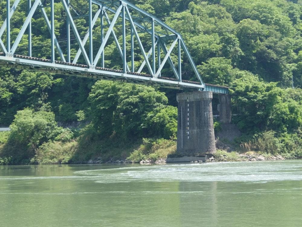 大船渡線ドラゴンラインと北上川の合流点