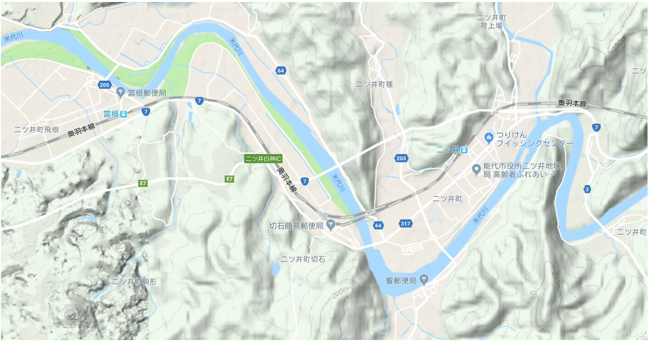 Google Map 地形図   二ツ井~外面